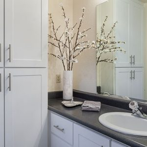Model unit bathroom decorated in a modern style